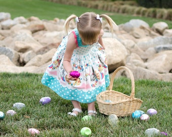 Floral Bunny Dress, Easter Dress, Polka Dot Dress, Easter Bunny Dress, Gray Bunny Dress, Easter Egg Dress