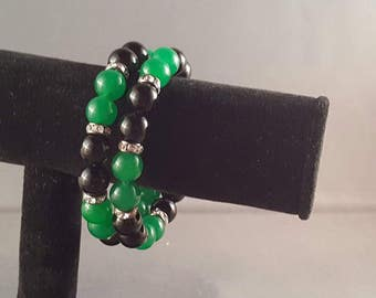 Midnight green memory wire bracelet