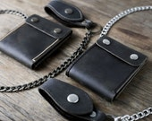 Biker Wallet - Wallet - Men's Dark Leather Biker Wallet - Chain Wallets - Manly Man Wallets -- Listing# 038