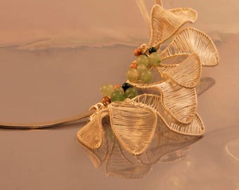 Statement Necklace With Leaves And Aventurine