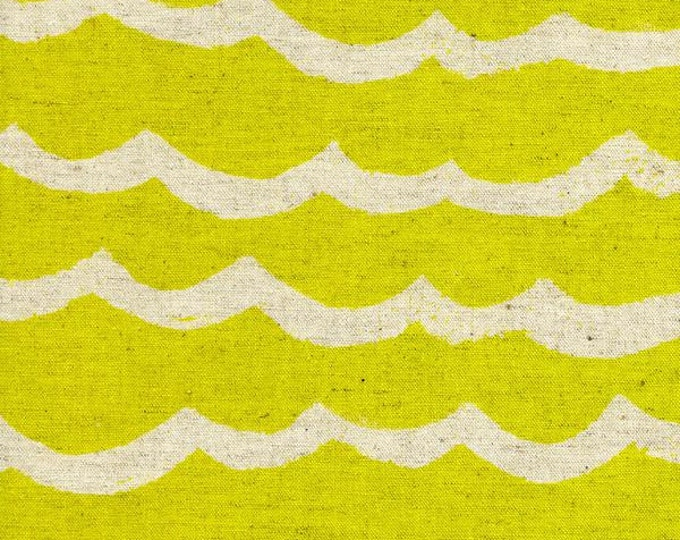 Waves in Citron Canvas- Kujira & Star by Rashida Coleman-Hale for Cotton + Steel