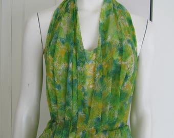 Vintage 1950's Green Halter Dress Floral  Print  Rayon Chiffon Shirred  Dress - Size  Small - Medium
