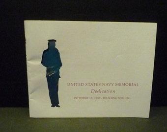 United States Navy Memorial - copy of Dedication Program- Oct. 13, 1987