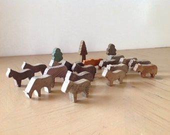 Vintage Wooden Miniature Cattle and Horse Herd, Made in Germany Wooden Imagination Toys
