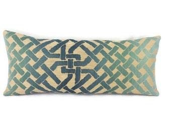 "9.5"" x 23"" Kelly Wearstler Ombre Maze in Teal Lumbar Pillow Cover"