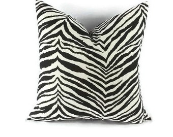 Black and Off White Zebra Print Cotton Pillow Cover