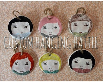 CUSTOM Ceramic Girl Face Wall Hangings. Hanging Hatties. Hand drawn and unique. Bespoke/Personalised. Great Quirky Gift. BF, Friend, Sister