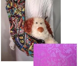 Pet Carrier, Pet Sling, Hot Pink Flur Print,  Pet Pouch, Handcrafted, Dog Carrier, Puppy Sling, Dog Sling