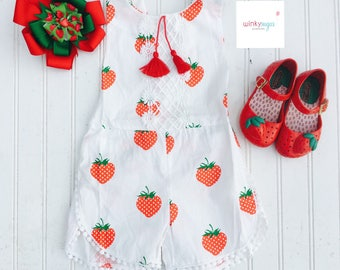 Strawberry fields forever romper/tassel and lace detail/ws163
