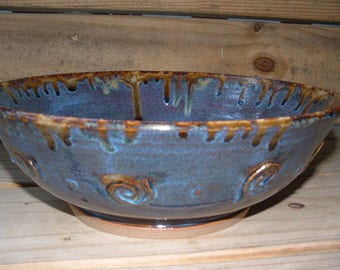 Handmade stoneware serving bowl in blue