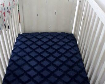 Navy Embossed Lattice Minky Crib Sheet,  Baby, Toddler, Crib Bedding, Nursery, Baby boy or girl