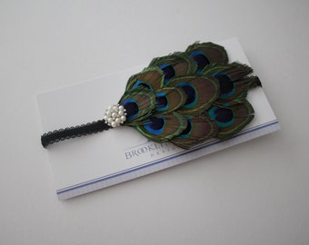 Peacock Feather Headband Embellished with Rhinestones and Pearls for Baby, Infant or Toddler