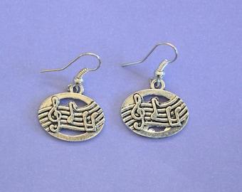 Silver Musical Dangly Earrings,Music Earrings,Tibetan Silver,Tibetan Charm,Silver Earrings,Musical Earrings,Musician Gift,Musician Earrings