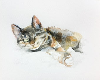 pet portrait, CUSTOM CAT PAINTING, Custom cat portrait, watercolor, cat portraits, siamese cat, custom pet painting, custom, pet portrait