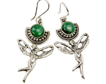 Fairy of the Forest Malachite & .925 Sterling Silver Dangle Earrings AF382 The Silver Plaza