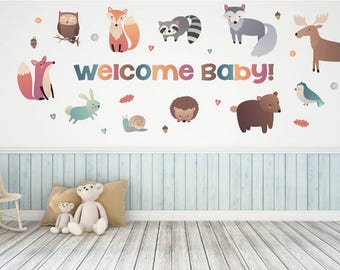Woodland Animal Baby Shower Decorations - Baby Shower Wall Decals - Woodland Theme Baby Shower - Woodland Animal Baby Shower Themed Decor