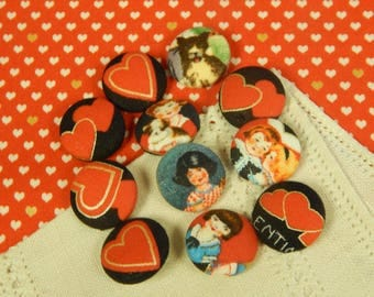 "Cloth Covered - Retro Valentine - Wireback Buttons - 7/8"" - Set of Eleven"