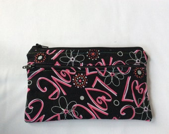 """Love all over  wet/dry  bag or cosmetic 8x5"""""""