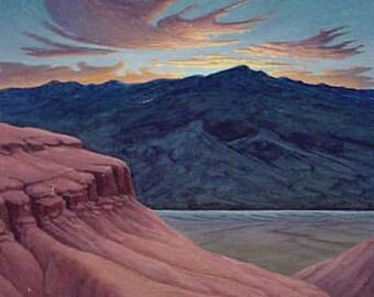 """Sunrise """"Dawn's Dance"""" - Original Landscape Painting - oil - dusk - desert painting - Southwest - nocturne - mountains - 9x12"""