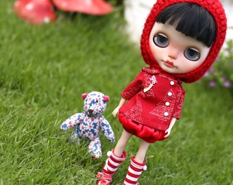 Red*  Set of 3 Pcs / Doll clothes for Neo Blythe , Pullip ,Licca dolls.