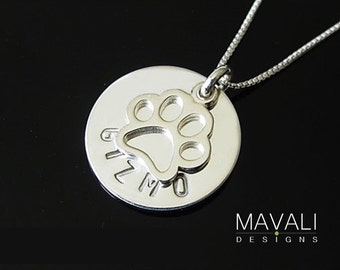 Paw Print Necklace with Name, Dog Necklace, Cat Necklace, Silver Paw Print Necklace, Animal Lover Necklace, Pet Memorial Necklace