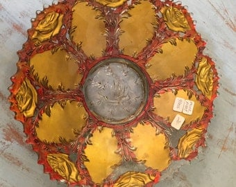 Vintage 1930s Goofus Glass Bowl Red and Gold Rose Pattern