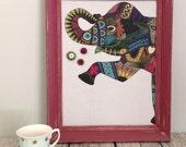 Babillard aimanté recouvert tissu éléphant motifs turquoise organisation mémo photos décor mural tableau d'affichage à aimants bureau