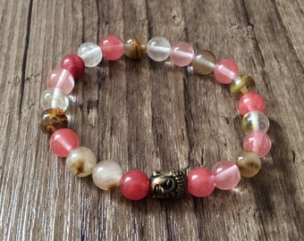 Beautiful Pink and Brown Bracelet - Buddhist Beads - Cherry Quartz Bracelet