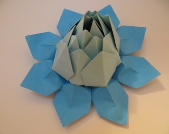 Origami Lotus Flower - Blue