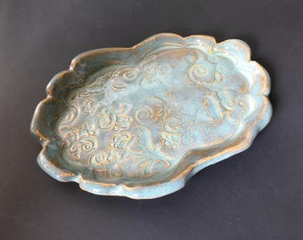 Jewelry Tray-Aqua Floral Tray-Jewelry Tray