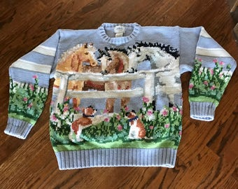 Vintage Miller's cotton spring sweater with dogs and horses