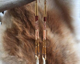 Desert Coyote Beaded Earrings