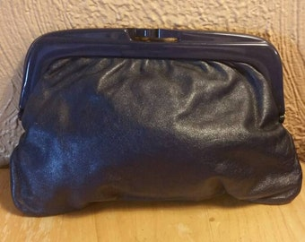 Vintage navy leather framed clutch, purse, handbag.