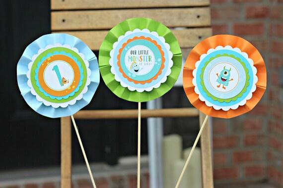 LITTLE MONSTER BIRTHDAY Party Decorations Centerpiece Sticks