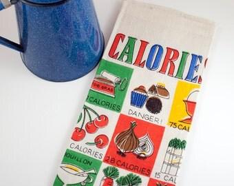 Vintage Kitchen / Dish / Tea Towel, Calorie Counting, Pure Linen, 1969 Calendar Towel, Mid Century, Retro, Farmhouse. Cottage