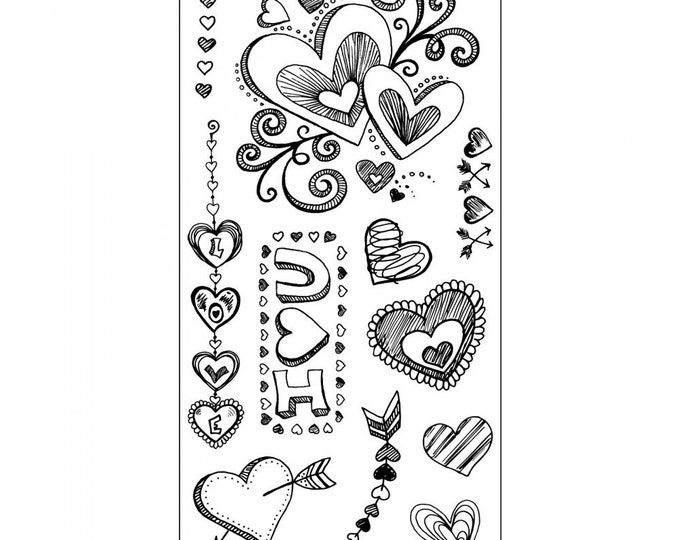New! Sizzix Clear Stamps - Doodle Love - Valentine's Day Theme 661991