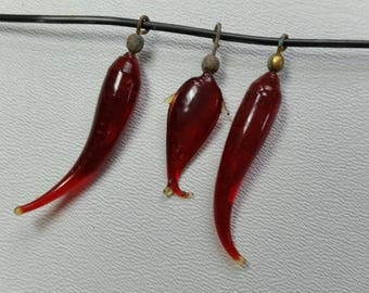 Fish and Chillies, glass pendants