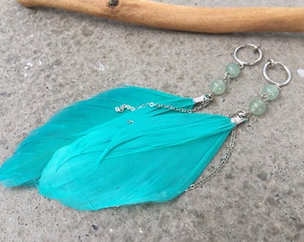 Earrings CLIPS feather green Mint with jade beads