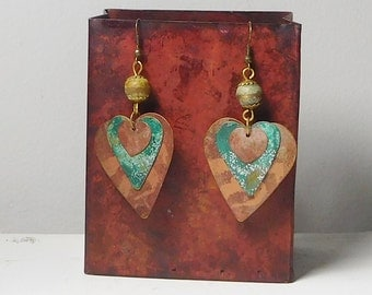 Rustic Metal Earrings Painted Patina Copper Brass Beads Aged Layered Hearts Bohemian Ethnic Tribal Boho Hippie Sundance Style Jewelry