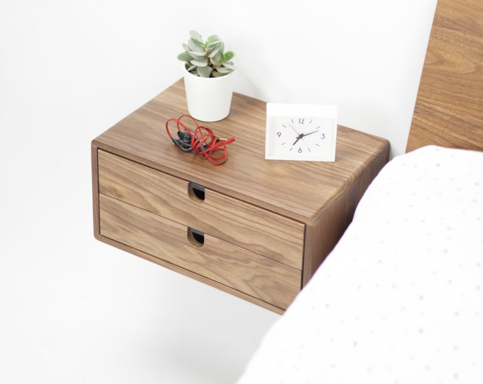 Walnut Floating nightstand bedside table drawer  in solid walnut mid century modern