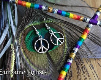 Peace sign earrings, Peace charms, Tibetan silver, Silver plated, fishhook findings, dangle earrings, Peace Symbol, CND symbol, 60's hippy
