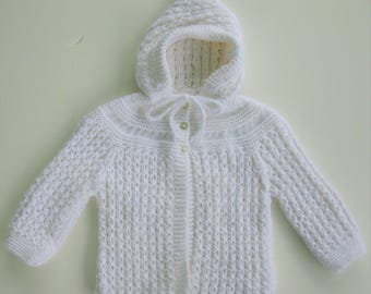 White  Hand knitted  Hooded Sweater 9 to 12 mos. READY TO SHIP!!