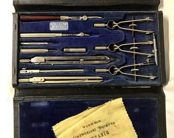 Vintage Dietzgen Commander Drafting Instruments Set