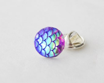 Mermaid Pin, Mermaid Gift, Mermaid Tie Pin, Mermaid Scales, Mermaid Tie tack, Mermaid Lapel Pin, Tie Tac, Mermaid Jewelry, Gifts under 10