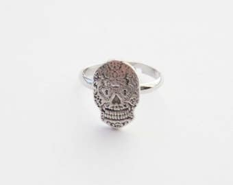 Sugar Skull Ring, Silver Skull Ring, Sugar Skull Jewelry, Silver Skull Jewelry, ,Day of the Dead Ring, Silver Skull Charm Jewelry, Goth Ring
