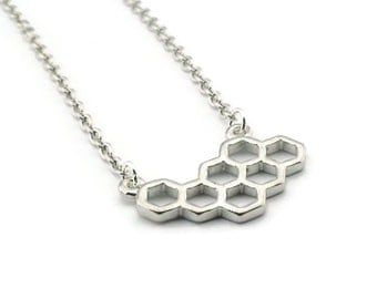 Honeycomb Necklace, Bee Necklace, Silvertone Necklace