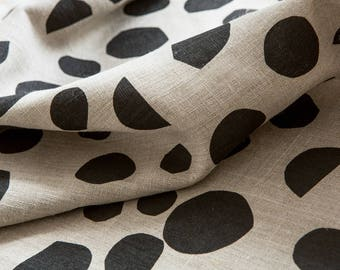 Square Peg Fabric / Black -  Hand screen printed Flax Linen