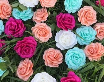 Satin  Roses , Flower Aplique, 30 mm