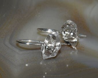 Simple Sterling Silver Herkimer Diamond Double Ended Crystal Drop Earrings Everyday Earrings
