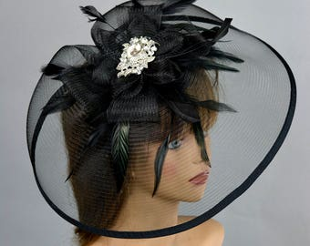 Black Headband Hat Kentucky Derby Hat Party Headband Party Hat Women Hat